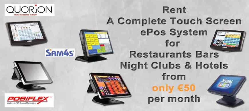 Touch Screen System for Restaurants, Bars, Takeaways, Hotels for Rent